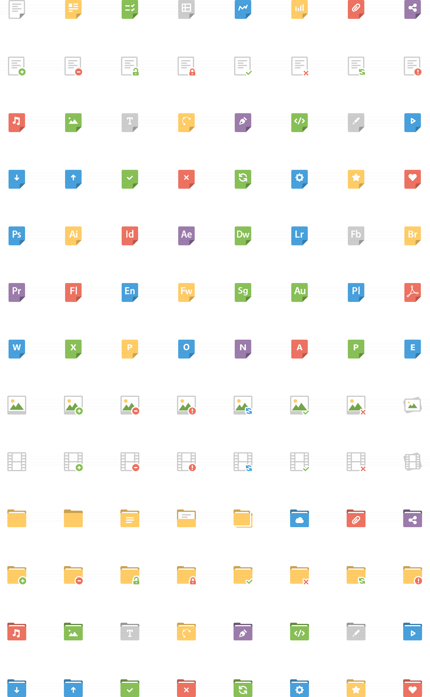 Files and Folders Flat Icons