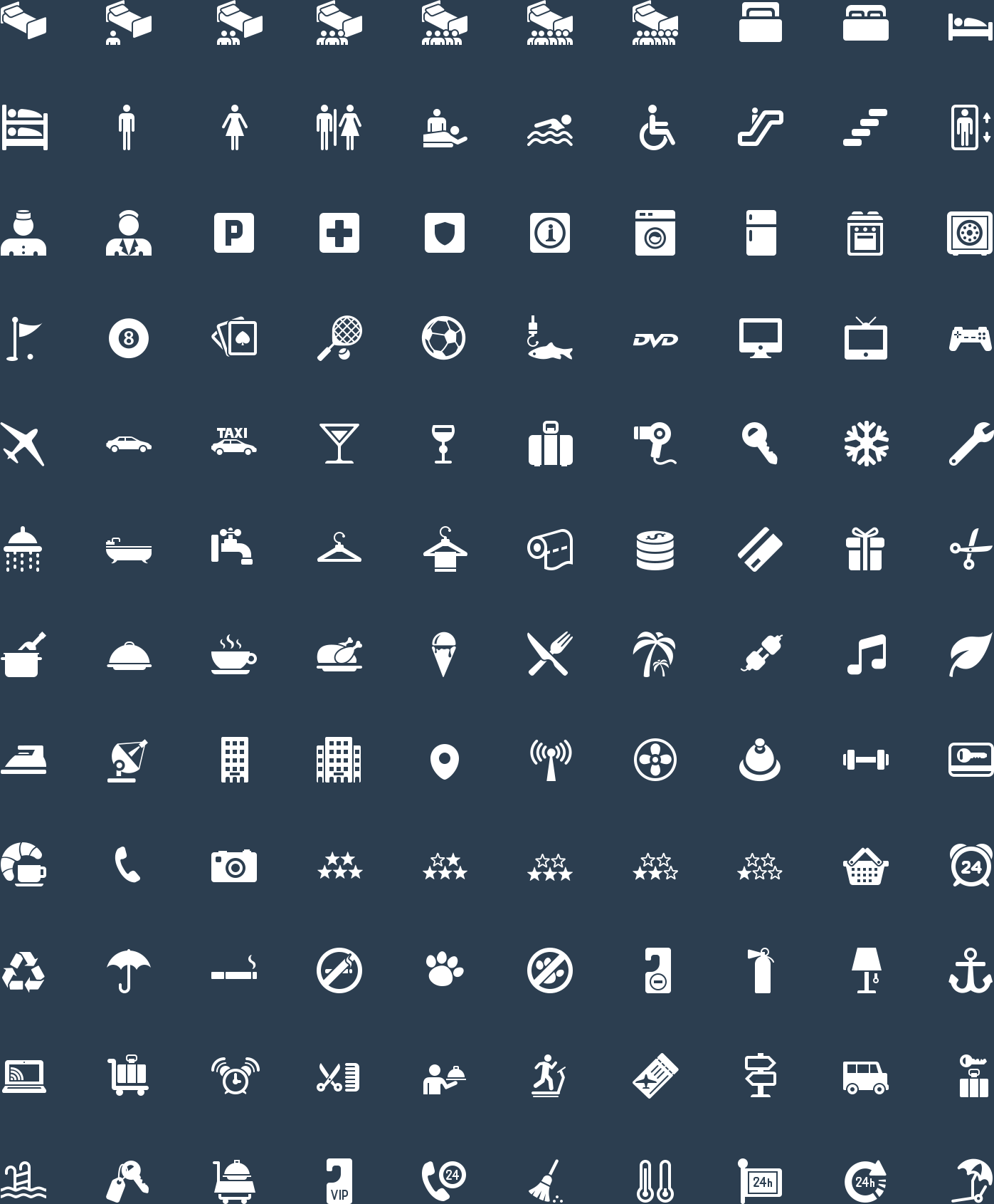 Hotel Glyph Icons